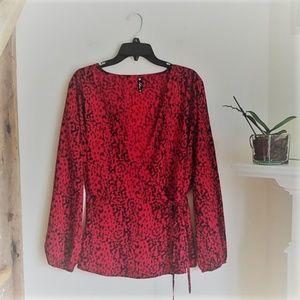 ASOS Influence animal print wrap top blouse 18